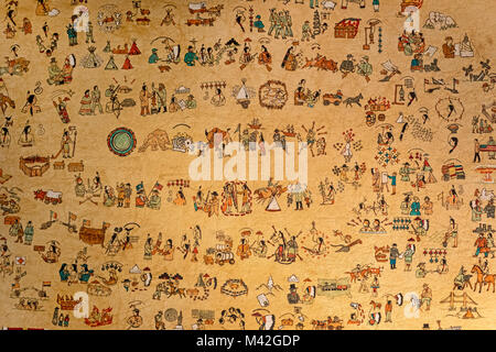 Harrison, Nebraska - A Winter Count history, painted by Oglala Sioux artist Dawn Little Sky, part of the Cook Collection - Stock Photo