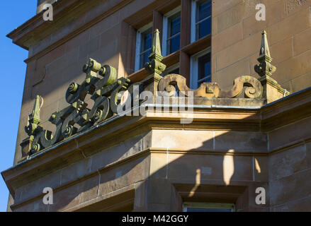 A detailed view of the Bangor Town Hall and Civic Centre in County Down Northern Ireland showing its ornate architectural - Stock Photo
