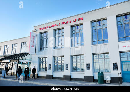 A Harry Ramsdens fish and chip restaurant and takeaway premises situated on the seafront at Bournemouth,UK the worlds - Stock Photo