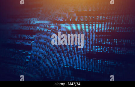Corrupted computer data loss abstract background with glitch effects over digital binary code. IT industry, cybersecurity - Stock Photo
