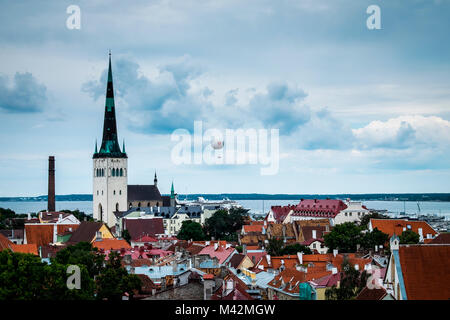 Tallinn, Estonia, Europe. The St. Olav Church in the old town. - Stock Photo