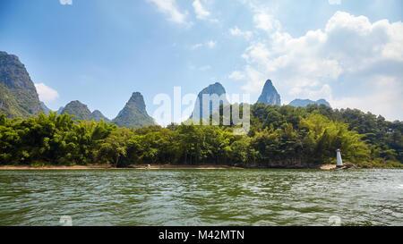 Li River (Li Jiang) near Xingping, China. - Stock Photo