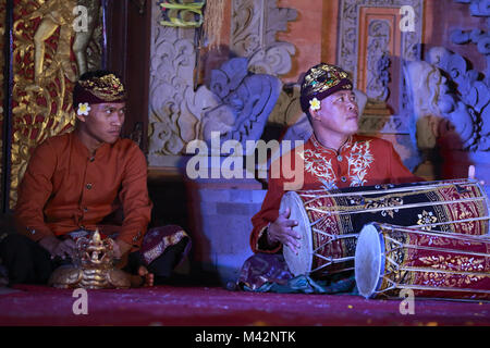 Musician performing for traditional Legong dance in Ubud Palace.Ubud, Bali,Indonesia - Stock Photo