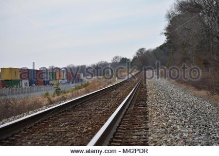 Rail tracks near an intermodal freight yard in USA - Stock Photo