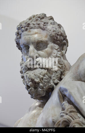 Head of the Farnese Hercules. Roman marble copy from the end of the 2nd century AD of the early 3rd century AD after - Stock Photo
