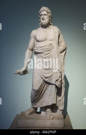 Asclepius of the Anzio type. Roman marble copy from the late 2nd century AD after a Late Hellenistic creation inspired - Stock Photo