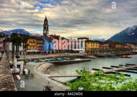 View over Ascona in Switzerland taken in 2015 - Stock Photo