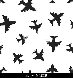 Airplane seamless pattern background. Business concept vector illustration. Airport plane symbol pattern. - Stock Photo