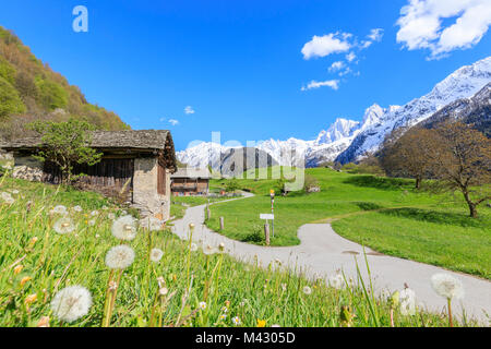 Huts in the green valley framed by snowy peaks Soglio Maloja canton of Graubunden Engadin Bregaglia Valley Switzerland - Stock Photo