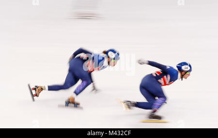 Gangneung, South Korea. 14th Nov, 2017. Team Great Britain warms up during the Men's Short Track Speed Skating 15000m - Stock Photo