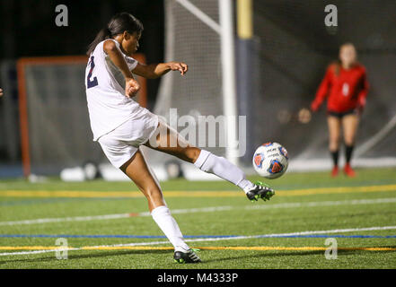 West Palm Beach, Florida, USA. 13th Feb, 2018. Boca Raton's Dayana Martin (12) attempts a shot on goal during the - Stock Photo