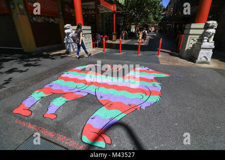 Adelaide, Australia. 14th Feb 2018. The dog which is the eleventh sign of the Chinese zodiac is painted at the entrance - Stock Photo
