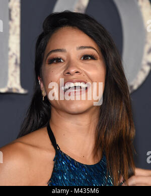 Westwood, California, USA. 13th Feb, 2018. Gina Rodriguez arrives for the 'Annihilation' Los Angeles Premiere at - Stock Photo