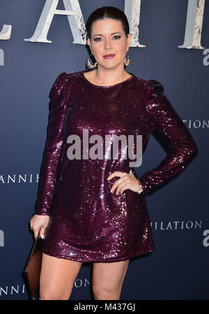 Los Angeles, USA. 13th Feb, 2018. Alicia Machado arrives at the Premiere Of Paramount Pictures' 'Annihilation' at - Stock Photo