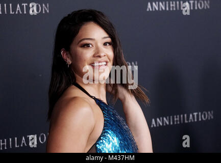 Los Angeles, USA. 13th Feb, 2018. Gina Rodriguez 60 arrives at the Premiere Of Paramount Pictures' 'Annihilation' - Stock Photo