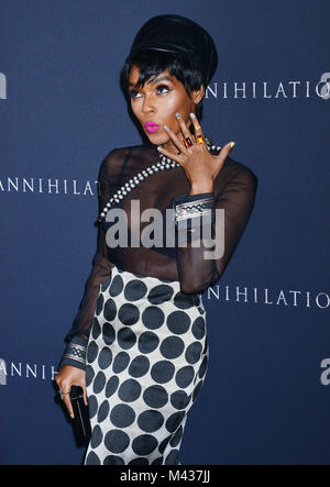 Los Angeles, USA. 13th Feb, 2018. Janelle Monae 86 arrives at the Premiere Of Paramount Pictures' 'Annihilation' - Stock Photo