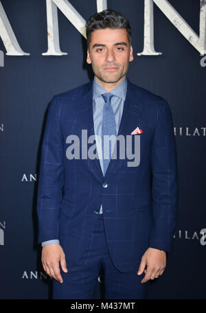 Los Angeles, USA. 13th Feb, 2018. Oscar Issac  arrives at the Premiere Of Paramount Pictures' 'Annihilation' at - Stock Photo