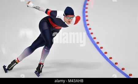 Gangneung, South Korea. 14th Feb, 2018. Czech Karolina Erbanova in action during the women's 1,000 meters speedskating - Stock Photo