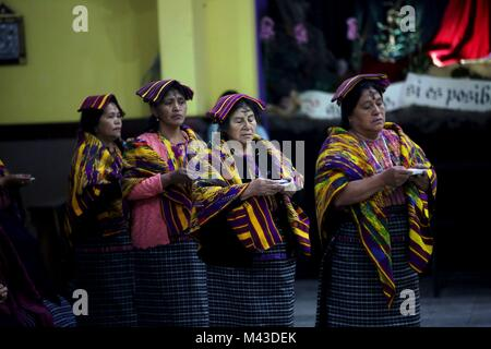 San Juan Sacatepequez Municipality, in Guatemala, 14 February 2018.  Parishioners attend the mass of the Ash Wednesday - Stock Photo