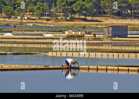 Salt evaporation ponds, production plant in Nin - Stock Photo