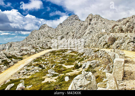 Velebit mountain road serpentine near Tulove grede - Stock Photo