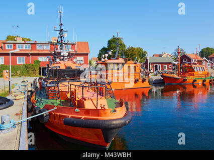 Pilot boats in Vasterhamn (west harbour) on the island of Oja (Landsort), the southernmost point in the Stockholm - Stock Photo