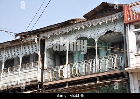 colonial style architecture in mawlamyaing,burma - Stock Photo