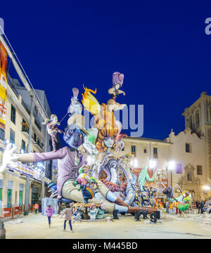 VALENCIA, SPAIN- MARCH 15, 2015: Final phase of El Pilar Falla in Valencia at dusk, the Fallas is a typical celebration - Stock Photo