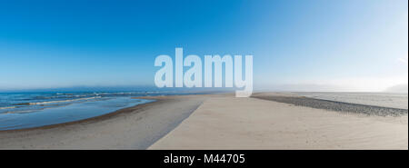 Early mist over the empty beach,Henne Mølle Beach,Region Syddanmark,Denmark - Stock Photo