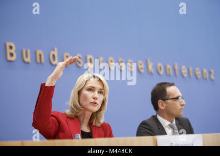 Maas and  Schwesig at Federal press conference in Berlin. - Stock Photo