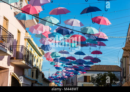 Umbrellas Street in Pula,Sardinia,Italy - Stock Photo