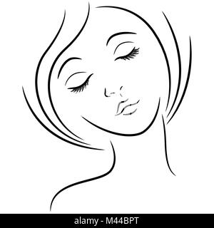 Abstract Female Face With Closed Eyes Hand Drawing Vector Outline