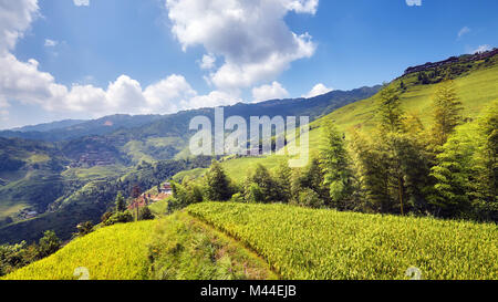 Longji Rice terraces (Dragons Backbone) in Longsheng County, China. - Stock Photo