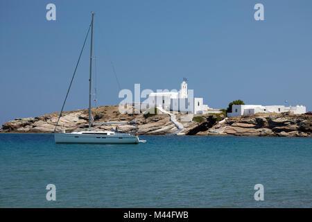 View of Chrisopigi Monastery, Chrisopigi, Sifnos, Cyclades, Aegean Sea, Greek Islands, Greece, Europe - Stock Photo