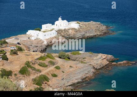View over Chrisopigi Monastery, Chrisopigi, Sifnos, Cyclades, Aegean Sea, Greek Islands, Greece, Europe - Stock Photo
