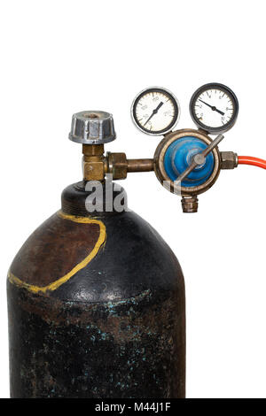 Gas pressure regulator with manometer (isolated) - Stock Photo