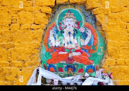 Buddha worship at the Potala Palace in Lhasa Tibet - Stock Photo