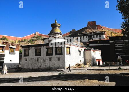 Monastery Palkhor Tsuklahang temple in Gyantse - Stock Photo