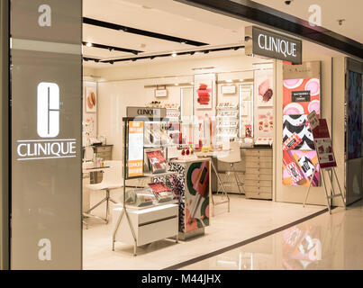 Hong Kong - February 11, 2018: Clinique store in Hong Kong. Clinique Laboratories, LLC is an American manufacturer - Stock Photo