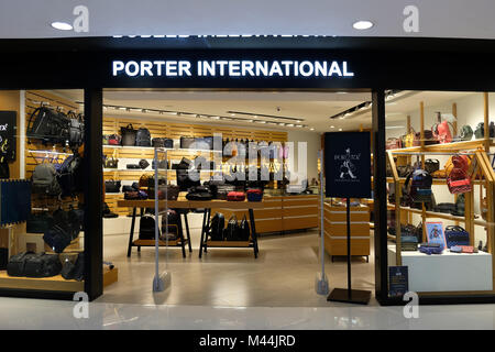 Hong Kong - February 11, 2018: Porter store in Hong Kong. Porter is the main brand of Yoshida & Co., Ltd. that is - Stock Photo