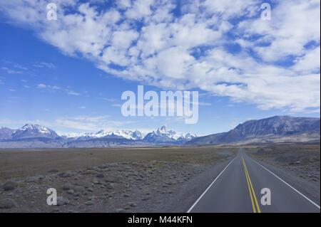 Patagonia,Cerro Fitz Roy and Cerro Torre.Road in t