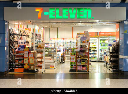 Hong Kong - February 11, 2018: 7-Eleven shop in Hong Kong. 7-Eleven or 7-11 is an international chain of convenience - Stock Photo