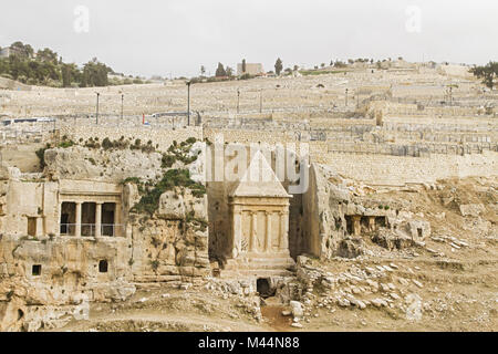 Tombs Hezir and Zechariah in the Kidron Valley . - Stock Photo