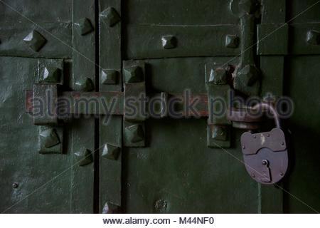 Padlocked bolt on St Basil's door - Stock Photo
