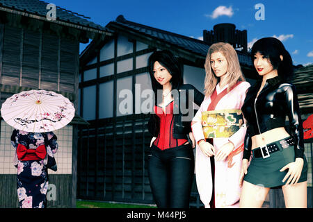 blond hair Caucasian lady wearing kimono walking with two pretty Japanese girs on the street - Stock Photo