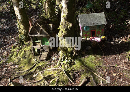 Fairy Houses left in the woods. Ireland has a history  of houses left in the woods  for the wood fairies to live - Stock Photo