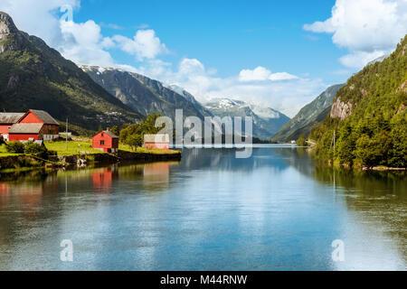 Odda is Norway town located near Trolltunga rock - Stock Photo