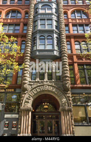 United States, Washington, Seattle, Pioneer Square, Pioneer Building - Stock Photo