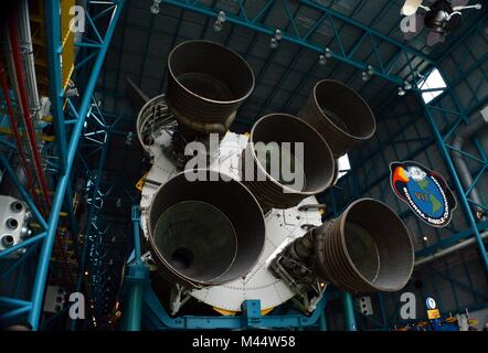 NASA Saturn V Rocket First Stage of Massive Engines / Motors. Used in the Apollo Lunar / Moon Missions at Kennedy - Stock Photo