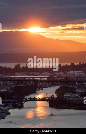 United States, Washington, Seattle, Ship Canal, Fremont Bridge, Lake Union, Puget Sound, Olympic Mountains - Stock Photo